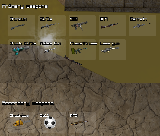 Ninja io weapon selection screen