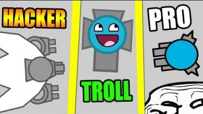 Diep.io TROLL vs PRO vs HACKER !!!