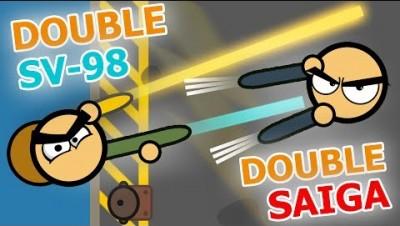 DOUBLE SAIGA-12 VS DOUBLE SV-98! + DOUBLE VECTOR SURVIV.IO! OMG!!! (Rare Guns Surviv.io)