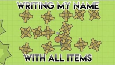 MOOMOO.IO - WRITING MY NAME WITH ALL ITEMS IN MOOMOO.IO !