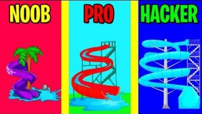 NOOB vs PRO vs HACKER in Aquapark.io!