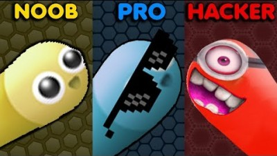 NOOB vs PRO vs HACKER in Slither.io Gameplay!