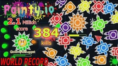 Painty.io - 2.1 Million Score, 384 Kills ! WORLD RECORD! Uncut! Undefeated
