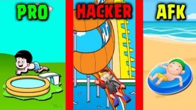 PRO vs HACKER vs AFK - Aquapark.io | Mobile Games